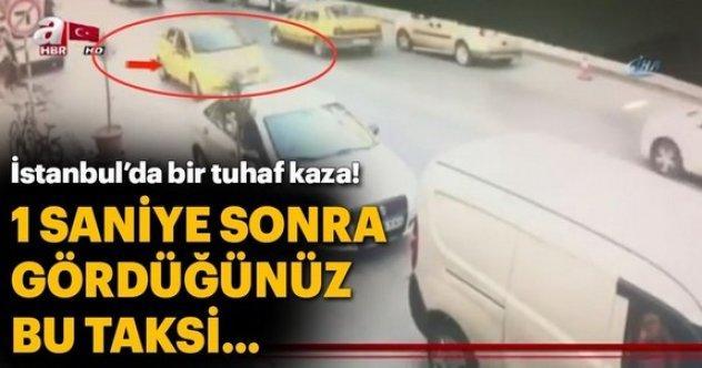 Bağcılar'da feci kaza: Taksi düz yolda takla attı